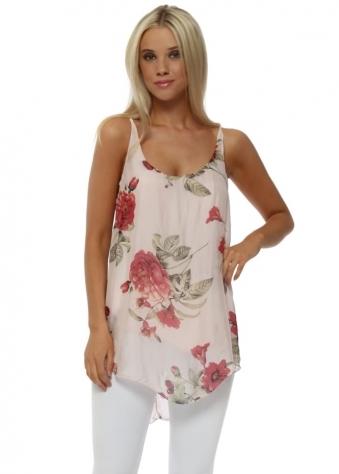 Baby Pink Floral Print Silk Vest Top