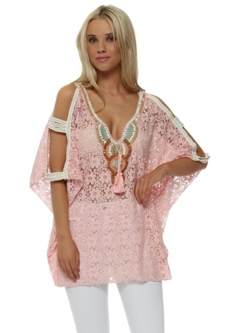 Baby Pink Lace Beaded Ladder Sleeve Kaftan