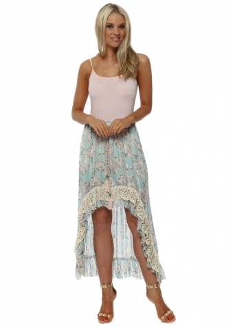 Baby Blue Floral Printed Hi Lo Maxi Skirt