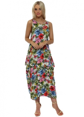 Red Exotic Floral Print Parachute Maxi Dress