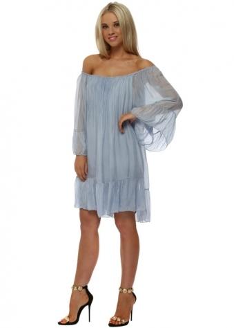 Baby Blue Silk Frill Tunic Dress