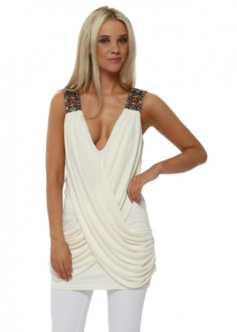 Ivory Draped Top With Sequin Embellished Shoulder