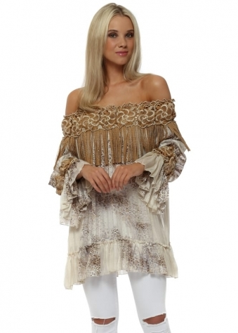 Tan Stud Leather Tassel & Leopard Print Off The Shoulder Top