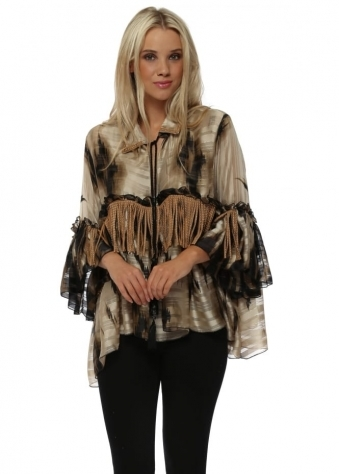 Beige & Black Oversized Shirt With Tan Stud Tassels