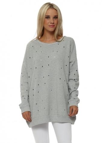 Dee Distressed Hole Knit Sweater In Vanilla Melange