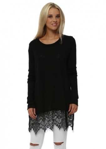 Roberta Slub Knit Lace Trim Jumper In Black