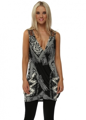 Monochrome Draped Top With Sequin Embellished Shoulder