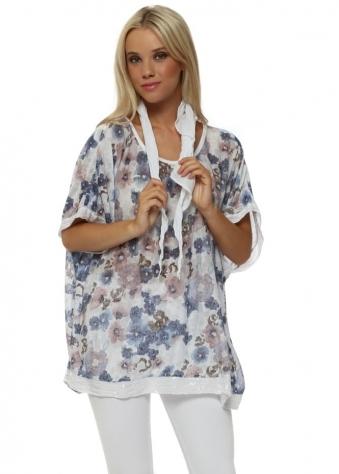 White Ditsy Floral Print Slub Knit Sequinned Top