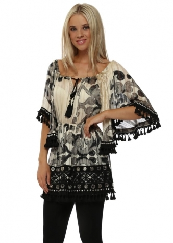 Cream & Black Tassel Hem Diamonte Kaftan Top