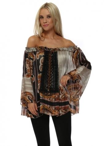 Taupe Vintage Print Semi Sheer Tie Up Top