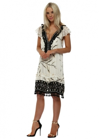 Black Tassel Diamonte Studded Cream Frill Dress