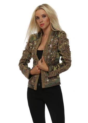 EXCLUSIVE Camouflage Embellished Trophy Jacket