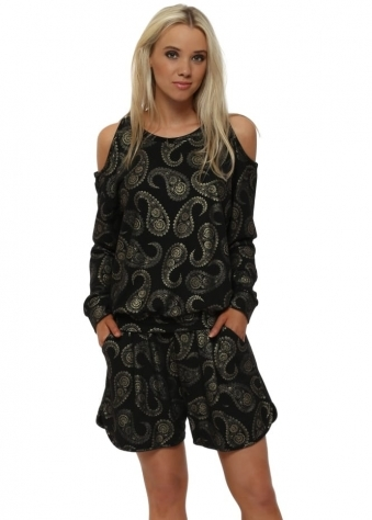 Pixie Black Gold Paisley Sweat Shorts