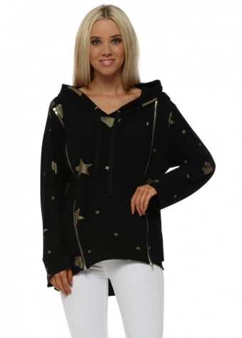 Georgia Black Heart & Star Double Zipped Hoodie