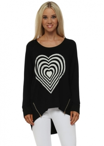 Black Infinity Heart Zip Sweater