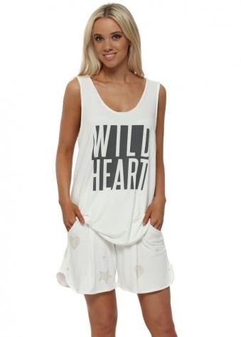 Gina Vanilla Gold Star & Heart Sweat Shorts
