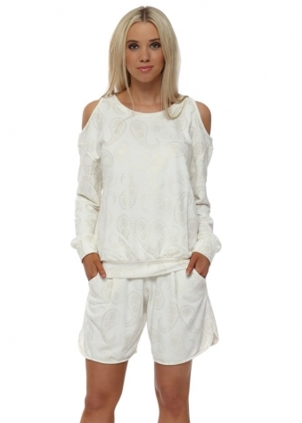 Pixie Vanilla Gold Paisley Sweat Shorts
