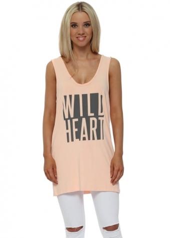 Peach Ice Wild Heart Oversized Vest Top