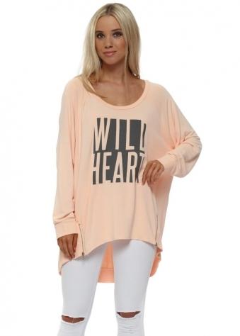Peach Ice Wild Heart Logo Zip Sweater