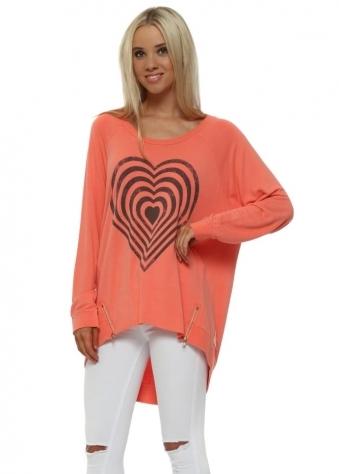Melon Infinity Heart Zip Sweater