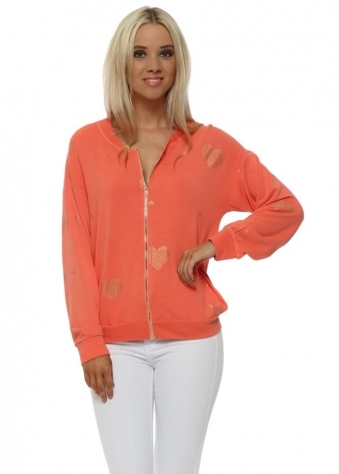 Gayle Melon Gold Heart & Star Zip Top