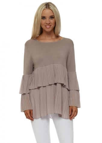 Taupe Tiered Pleated Chiffon Fine Knit Jumper