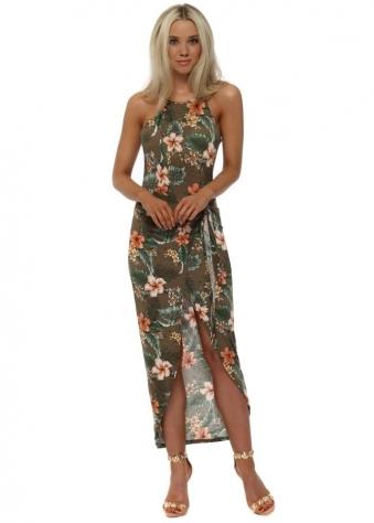 Khaki Tie Front Exotic Floral Print Dress