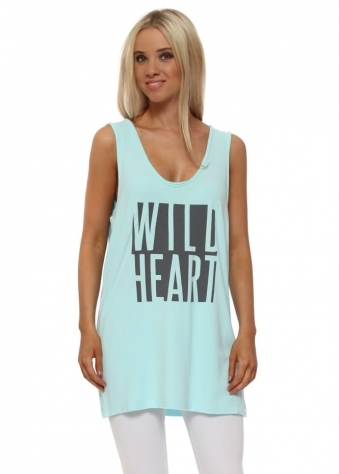 Paradise Blue Wild Heart Oversized Vest Top