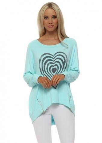 Paradise Blue Infinity Heart Zip Sweater