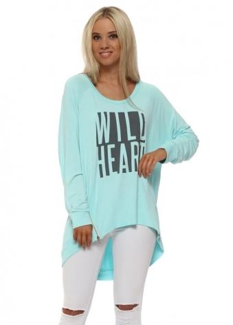 Paradise Blue Wild Heart Logo Zip Sweater