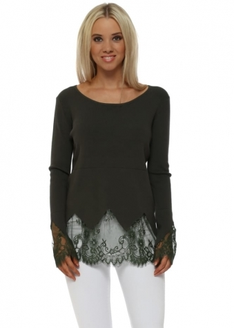 Forest Green Classic Fit Lace Detail Jumper