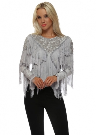 EXCLUSIVE Luxe Silver Embellished Tassel Bodysuit