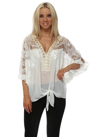 White Embroidered Gold Circle Tie Front Top