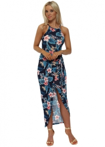 Navy Tie Front Exotic Floral Print Dress