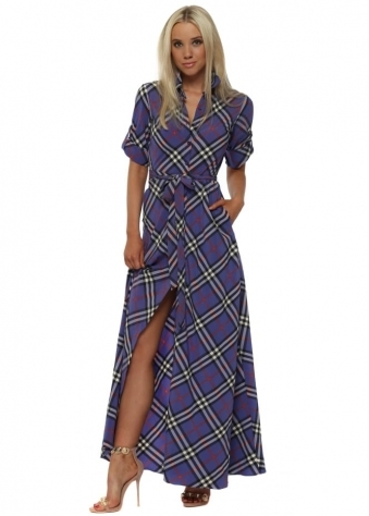 Blue Check Maxi Shirt Dress