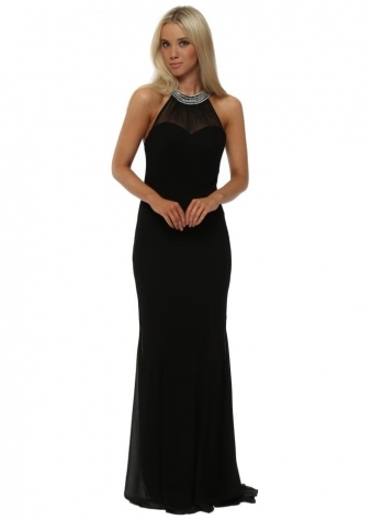 Black Embellished Fishtail Maxi Dress