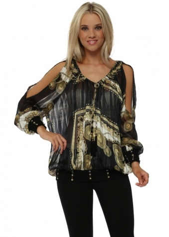 Black & Gold Rococo Print Jewel Embellished Top