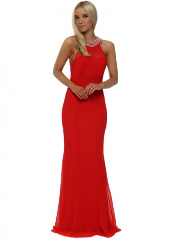 Red Embellished Fishtail Maxi Dress