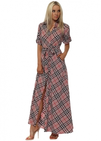 Pink Check Maxi Shirt Dress