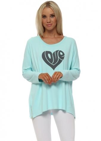 Paradise Blue Hippy Love Heart Sweater