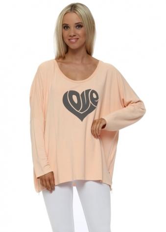 Peach Ice Hippy Love Heart Sweater