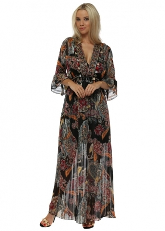 Multicoloured Print Embroidered Black Maxi Dress