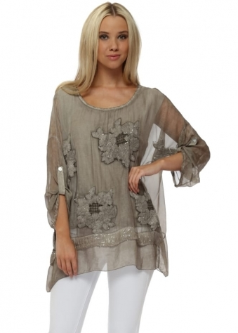 Taupe Sequinned Textured Floral Silk Top