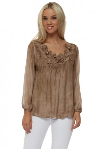 Mocha Silk Embroidered Floral Pearl Top