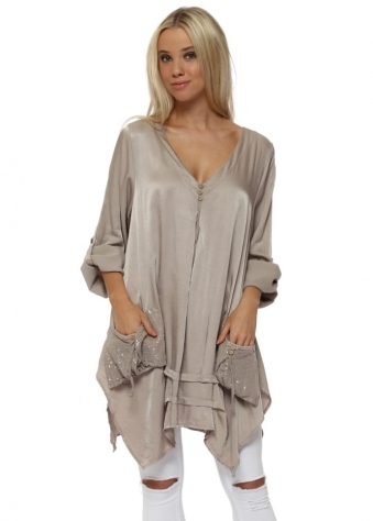 Beige Satin Sequinned Pockets Tunic Top