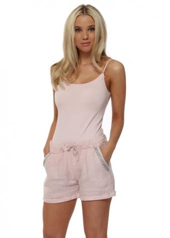 Light Pink Diamante Pocket Linen Shorts