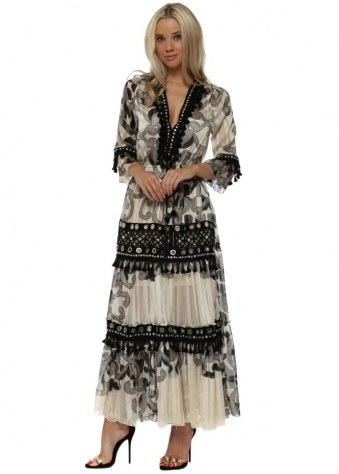 Cream & Black Baroque Print Tiered Maxi Dress