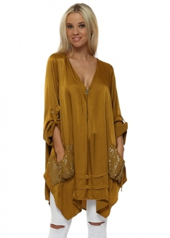 Mustard Satin Sequinned Pockets Tunic Top