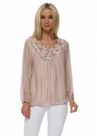 Dusky Pink Silk Embroidered Floral Pearl Top