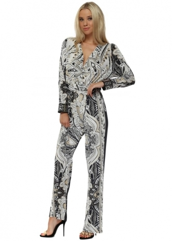 White & Black Baroque Print Jumpsuit